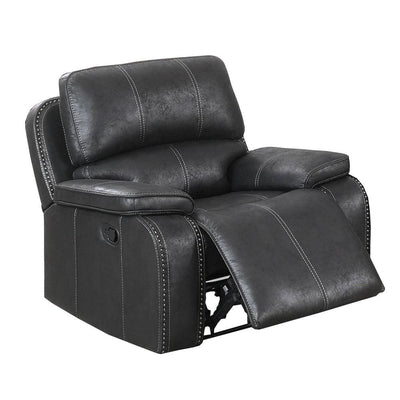 Leatherette Manual Recliner with Stitched Details, Black By Casagear Home