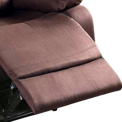 Fabric Upholstered Recliner with Tufted Back Brown By Casagear Home BM232413