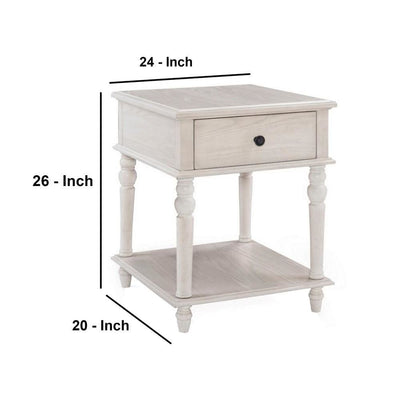 26 Inch 1 Drawer Wooden Side Table with Lower Shelf White By Casagear Home BM232452