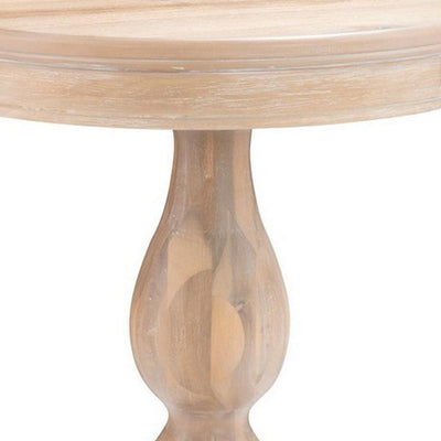 Transitional Molded Top Wooden Side Table with Pedestal Base Natural Brown By Casagear Home BM232461