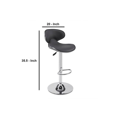Curved Leatherette Upholstered Barstool with Gas Lift Mechanism Gray By Casagear Home BM232467