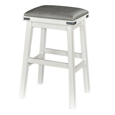 30 Inch Industrial Style Barstool with Upholstered Seat, Gray and White By Casagear Home