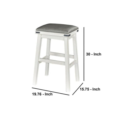 30 Inch Industrial Style Barstool with Upholstered Seat Gray and White By Casagear Home BM232468