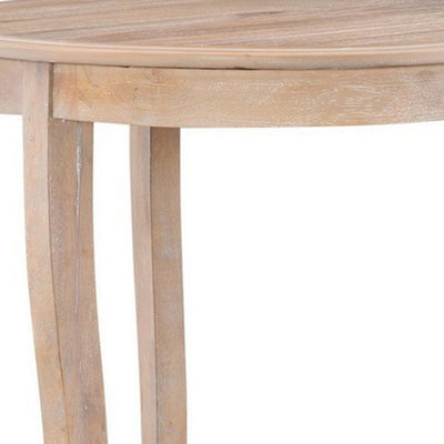 Wooden Round Side Table with Cabriole Legs and Open Shelf Natural Brown By Casagear Home BM232471