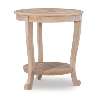 Wooden Round Side Table with Cabriole Legs and Open Shelf, Natural Brown By Casagear Home