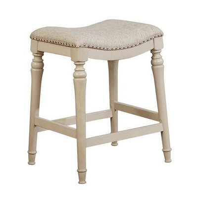 Counter Stool with Nailhead Trim Details and Flared Legs, Beige By Casagear Home