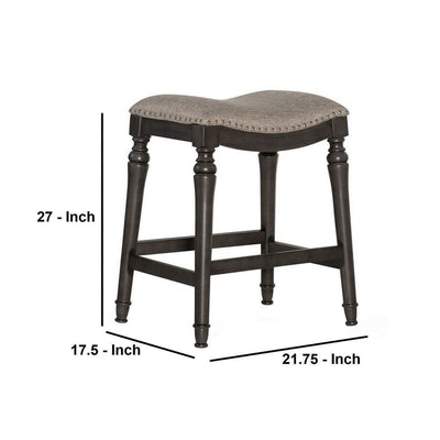 Counter Stool with Nailhead Trim Details and Flared Legs Gray By Casagear Home BM232476
