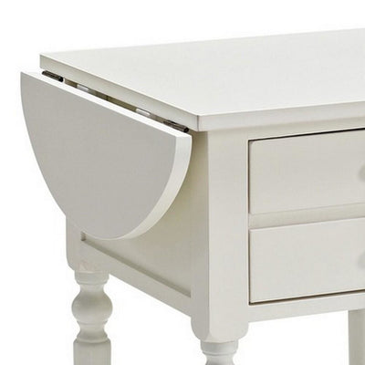 24 Inches 2 Drawer Accent Table with Drop Leaf White By Casagear Home BM232495
