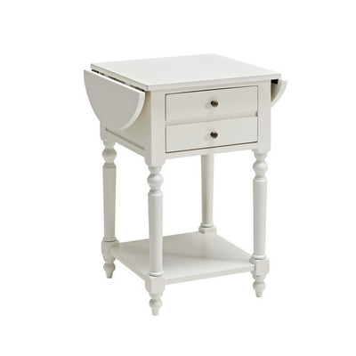 24 Inches 2 Drawer Accent Table with Drop Leaf, White By Casagear Home