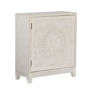 29 Inches Medallion Engraved Door Storage Cabinet, Antique White By Casagear Home