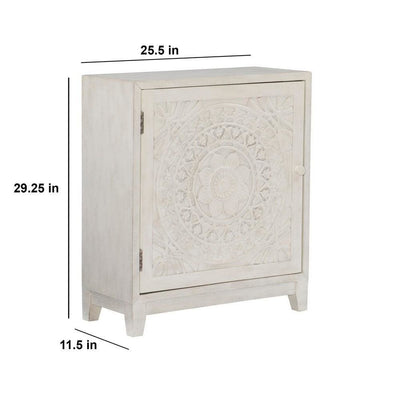 29 Inches Medallion Engraved Door Storage Cabinet Antique White By Casagear Home BM232496