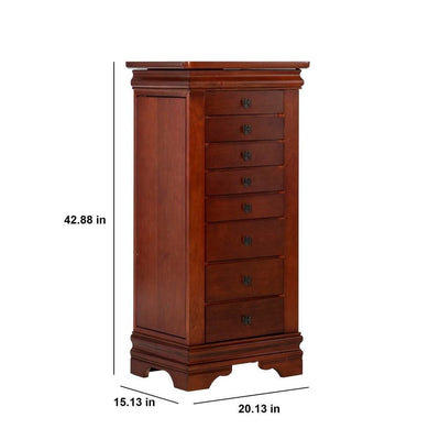 42.88 Inches 8 Drawer Jewelry Armoire with Bracket Feet Brown By Casagear Home BM232501