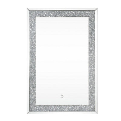 Rectangular Beveled Wall Mirror with Touch Led, Silver By Casagear Home
