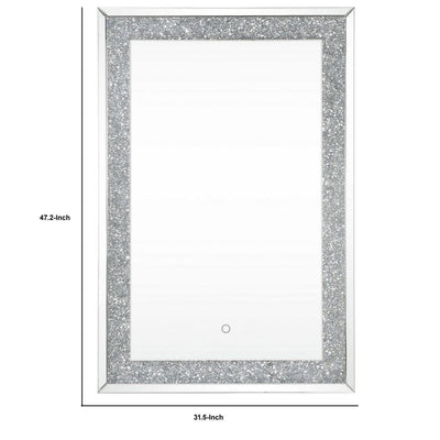 Rectangular Beveled Wall Mirror with Touch Led Silver By Casagear Home BM232515