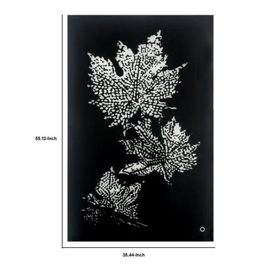 Rectangular Floral Wall Art with LED Black and Silver By Casagear Home BM232518