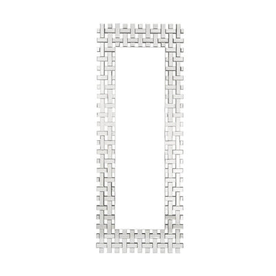 Rectangular Beveled Lattice Trim Wall Mirror, Silver By Casagear Home