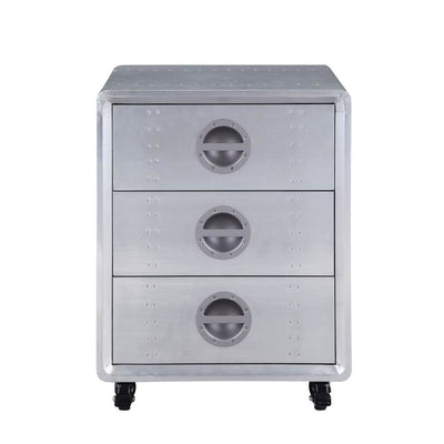 24 Inch Industrial Aluminum Cabinet with 3 Drawers Silver By Casagear Home BM232557