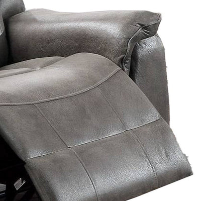 Fabric Manual Recliner Chair with Pillow Top Arms Gray By Casagear Home BM232607