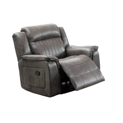 Fabric Manual Recliner Chair with Pillow Top Arms, Gray By Casagear Home