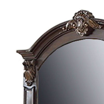 Scalloped Crown Top Wooden Frame Wall Mirror with Molded Details Brown By Casagear Home BM232649