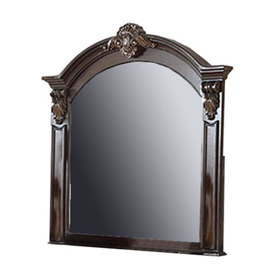 Scalloped Crown Top Wooden Frame Wall Mirror with Molded Details, Brown By Casagear Home