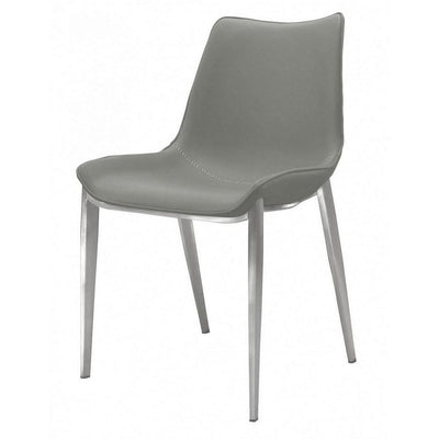Armless Design Leatherette Dining Chair with Plastic Glider, Set of 2,Gray By Casagear Home