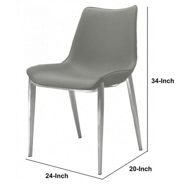 Armless Design Leatherette Dining Chair with Plastic Glider Set of 2,Gray By Casagear Home BM232733