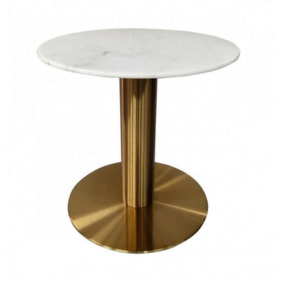 20 Inch Marble Top End Table with Pedestal Base, White and Gold By Casagear Home