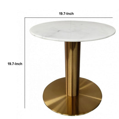 20 Inch Marble Top End Table with Pedestal Base White and Gold By Casagear Home BM232752