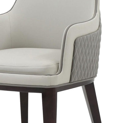 Foam Filled Curved Leatherette Dining Chair Beige and Gray By Casagear Home BM232756