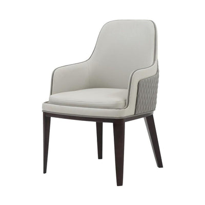 Foam Filled Curved Leatherette Dining Chair, Beige and Gray By Casagear Home