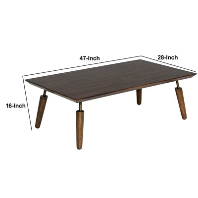 16 Inch Mid Century Modern Wooden Coffee Table Brown By Casagear Home BM232775