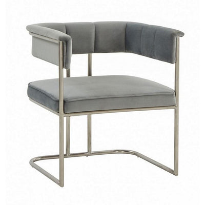 29 Inch Fabric Dining Chair with Tubular Metal Frame, Gray By Casagear Home