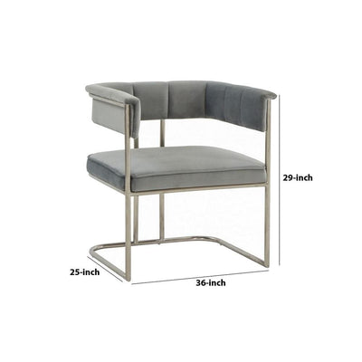29 Inch Fabric Dining Chair with Tubular Metal Frame Gray By Casagear Home BM232804