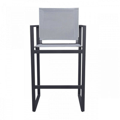 42 Inch Metal Bar Stool with Sling Seat and Back Gray By Casagear Home BM232838