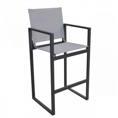 42 Inch Metal Bar Stool with Sling Seat and Back, Gray By Casagear Home
