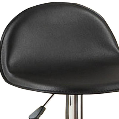 Adjustable Metal Bar Stool with Leatherette Seat Set of 2 Black By Casagear Home BM232879