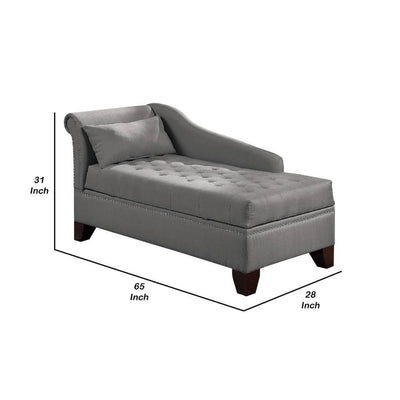 Chaise Lounge with Chamfered Feet and Nailhead Trim Details Light Gray By Casagear Home BM232881
