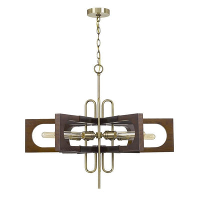 Fan Blade Design Wooden Chandelier with Metal Frame, Gold and Brown By Casagear Home