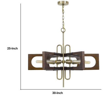 Fan Blade Design Wooden Chandelier with Metal Frame Gold and Brown By Casagear Home BM233259