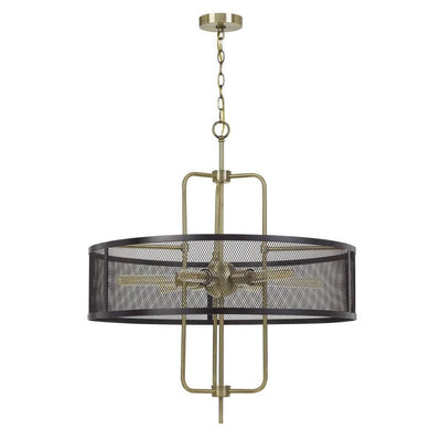 Metal Chandelier with Mesh Drum Shade, Black and Gold By Casagear Home