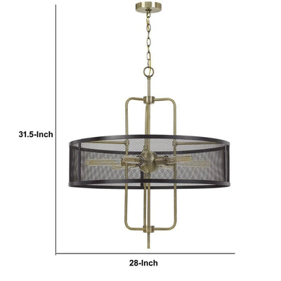 Metal Chandelier with Mesh Drum Shade Black and Gold By Casagear Home BM233260