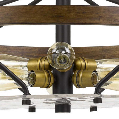 Open Island Metal Frame Chandelier with Round Wooden Accent Black By Casagear Home BM233264