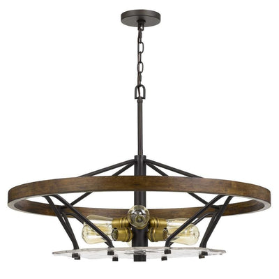 Open Island Metal Frame Chandelier with Round Wooden Accent, Black By Casagear Home