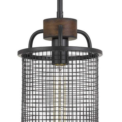 Cylindrical Grid Design Metal Chandelier with Wooden Accent Black By Casagear Home BM233266
