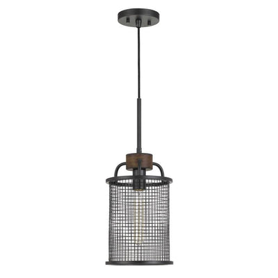 Cylindrical Grid Design Metal Chandelier with Wooden Accent, Black By Casagear Home