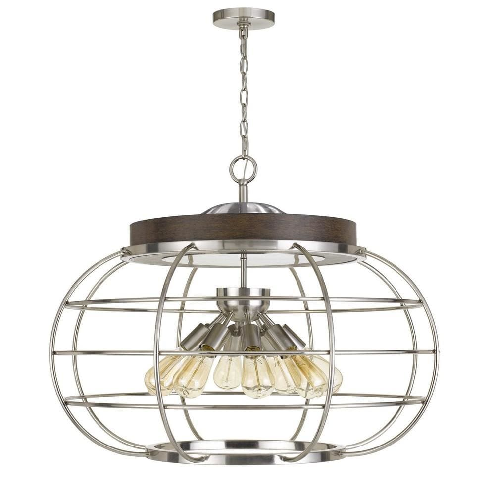 Metal Chandelier with Cage Design Bowl Shade, Silver By Casagear Home