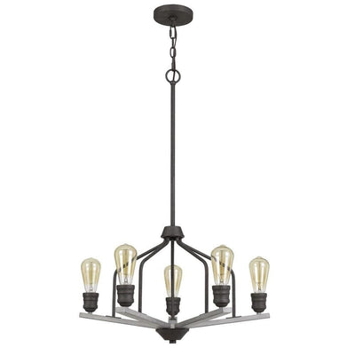 Metal Frame Chandelier with Wooden Crossbar Support, Gray By Casagear Home