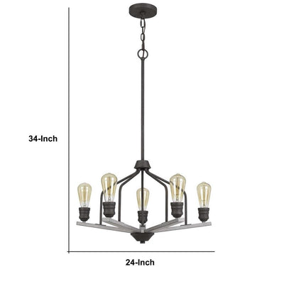 Metal Frame Chandelier with Wooden Crossbar Support Gray By Casagear Home BM233271