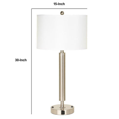 Metal Table Lamp with Fabric Drum Shade Silver and White By Casagear Home BM233288